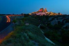 Ancient city of Uchisar in Cappadocia, Turkey Royalty Free Stock Images