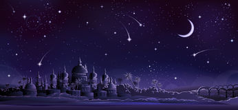 Ancient city under crescent moon Royalty Free Stock Images