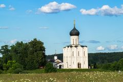 Church of the Intercession of the Holy Virgin on the Nerl River on the bright summer day. Ancient city Vladimir with suburbs is recognized as significant Stock Images