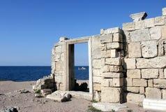 Ancient city wall. Ancient basilica columns of Creek colony Chersonesos, Sevastopol, Crimea, Ukraine Stock Photography