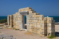 Ancient city wall. Ruins of the ancient city of Chersonesos in Crimea Royalty Free Stock Photo