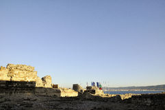 Ancient city wall in the city of Nesebar in Bulgaria Stock Images