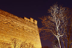 Ancient city wall in night Royalty Free Stock Photography