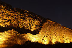 Ancient city wall in night Stock Photos
