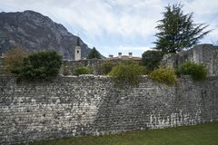 Ancient City Wall in Venzone Stock Image