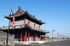 Ancient city wall of Xian, China stock image