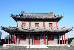 Ancient city wall of Xian, China stock images