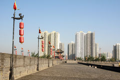 Ancient city wall of Xian, China Stock Photography