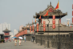 Ancient city wall in xian Stock Photos
