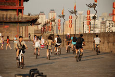 Ancient city wall in xian Royalty Free Stock Photos