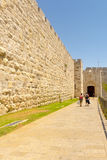 The ancient city walls and towers in the old Jerusalem Stock Photography