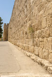 The ancient city walls and towers in the old Jerusalem Stock Image