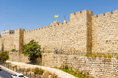 The ancient city walls and towers in the old Jerusalem Royalty Free Stock Image