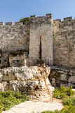 The ancient city walls and towers in the old Jerusalem Royalty Free Stock Photo