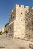 The ancient city walls and towers in the old Jerusalem Stock Images