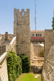The ancient city walls and towers in the old Jerusalem Royalty Free Stock Photography