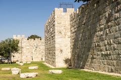 The ancient city walls and towers in the old Jerusalem Royalty Free Stock Photos