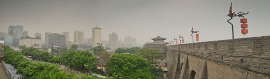 Ancient city walls of Xian, China Royalty Free Stock Images