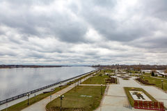 Ancient city of Yaroslavl on the Volga River, Russia. The Russian city of Yaroslavl on the Volga River in cloudy weather in the day royalty free stock images