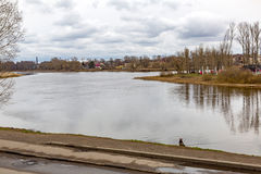 Ancient city of Yaroslavl on the Volga River, Russia. The Russian city of Yaroslavl on the Volga River in cloudy weather in the day royalty free stock photo