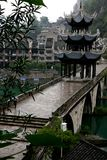 Ancient City ZhenYuan, GuiZhou, China. Shoot in a rainny day. It was the central area of ZhenYuan city. This small ancient city was built along a revier Stock Photos