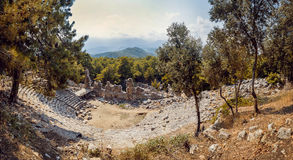Ancient civilization temple. Amphitheater. Panoramic background Stock Photos