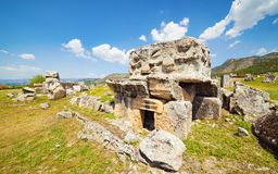 Ancient tomb at Hierapolis in Pamukkale, Turkey. Ancient civilization, tomb ruins at Hierapolis in Pamukkale, Turkey Stock Photos