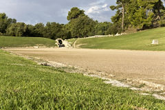 Ancient classic greek olympic stadium at Olympia. In Greece Stock Photo