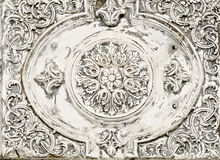 Ancient classic greek relief. Ancient greek relief detail incised on marble plaque Stock Photos