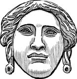 The ancient classical mask of a female face Stock Photo