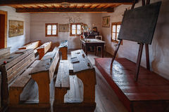 Ancient classroom. With traditional wooden benches and slate tablets Stock Photo