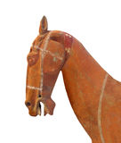 Ancient clay horse head isolated. Royalty Free Stock Image