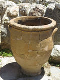 Ancient clay Minoan amphora in Crete, Greece Stock Photos