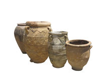Ancient clay Minoan decorated amphora isolated Stock Image
