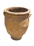 Ancient clay Minoan decorated amphora isolated Stock Photos