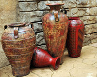 Ancient Clay Pots Stock Photo