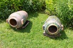 Ancient clay pots in the park Art Gallery Koprivshtitsa in Bulgaria Royalty Free Stock Photography
