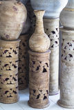 Ancient clay pots. In the temple Stock Photography