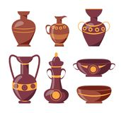 Ancient Clay Vases with Ethnic Ornaments Set. Ancient clay vases with ethnic ornaments isolated vector illustrations on white background. Polished antique stock illustration