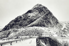 Ancient cliff black-white. Lofoten islands. Beautiful Norway landscape. Royalty Free Stock Photography
