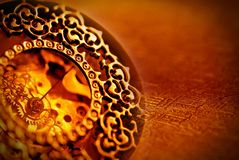 Ancient clock. Closeup on face of ancient clock with vintage background stock photo