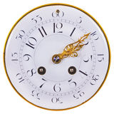 Ancient clock face with a double row of numbers isolated on whit Royalty Free Stock Images