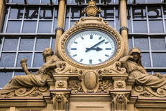 Ancient Clock in Frankfurt Bahnhof. Photo stock photos