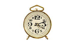 Ancient clock isolated on white. Background stock photos
