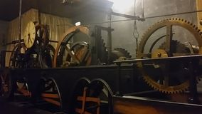 Ancient clock mechanism measuring time at Lviv City Hall, technical progress stock video footage