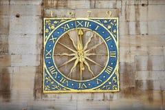 Ancient clock tower. Ancient English clock tower Cambridge United Kingdom royalty free stock photos
