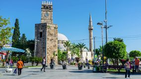 The ancient Clock Tower in Antalya stock video footage
