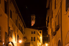 Ancient clock tower in Santarcangelo di Romagna village Italy travel Royalty Free Stock Photography
