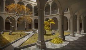 Ancient cloister, autumn scene. 3D illustration Stock Photos