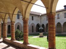 Ancient cloister in Crema, Italy. Internal view of a cloister of tawn of Crema, Italy Royalty Free Stock Image